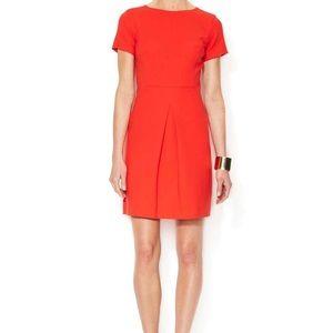 Shoshanna Red Crepe Inverted Pleat Dress